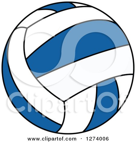 Clipart of a Blue and White Volleyball - Royalty Free Vector Illustration by Vector Tradition SM