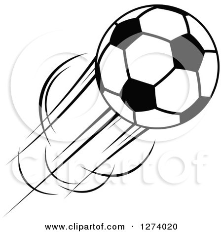 Clipart of a Black and White Flying Soccer Ball 11 - Royalty Free Vector Illustration by Vector Tradition SM