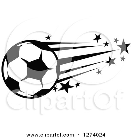 Clipart of a Black and White Flying Soccer Ball with Stars - Royalty Free Vector Illustration by Vector Tradition SM