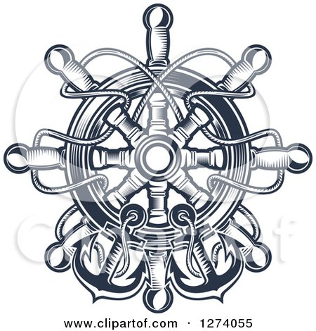 Clipart of Navy Blue Nautical Anchors, Rope and a Helm - Royalty Free Vector Illustration by Vector Tradition SM