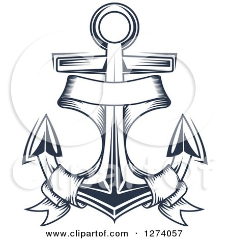 Clipart of a Navy Blue Nautical Anchor and Banner 2 - Royalty Free Vector Illustration by Vector Tradition SM