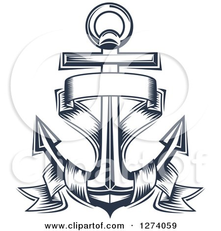 Clipart of a Navy Blue Nautical Anchor and Banner 4 - Royalty Free Vector Illustration by Vector Tradition SM