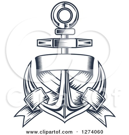 Clipart of a Navy Blue Nautical Anchor and Banner 5 - Royalty Free Vector Illustration by Vector Tradition SM