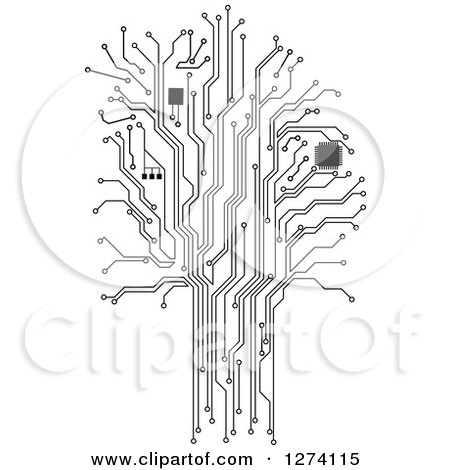 Clipart of a Grayscale Computer Chip and Circuit Tree - Royalty Free Vector Illustration by Vector Tradition SM