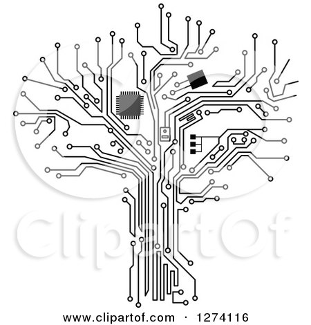 Clipart of a Grayscale Computer Chip and Circuit Tree 2 - Royalty Free Vector Illustration by Vector Tradition SM