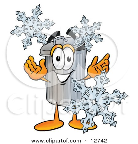 Clipart Picture of a Garbage Can Mascot Cartoon Character With Three Snowflakes in Winter by Toons4Biz