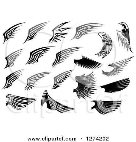 Clipart of Black and White Wings in Different Styles - Royalty Free Vector Illustration by Vector Tradition SM