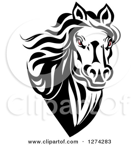 Clipart of a Black and White Horse Head with Demonic Eyes - Royalty Free Vector Illustration by Vector Tradition SM