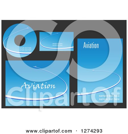 Clipart of Aviation Template Designs with Jets in Blue Skies and Sample Text - Royalty Free Vector Illustration by Vector Tradition SM