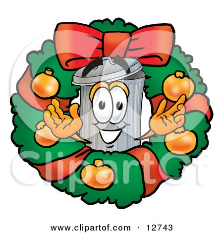 Clipart Picture of a Garbage Can Mascot Cartoon Character in the Center of a Christmas Wreath by Toons4Biz