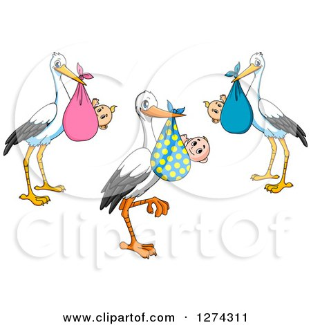 Clipart of Baby Delivery Storks - Royalty Free Vector Illustration by Vector Tradition SM