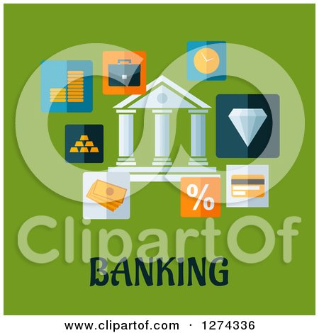Clipart of a Building with Money Icons over Banking Text on Green - Royalty Free Vector Illustration by Vector Tradition SM