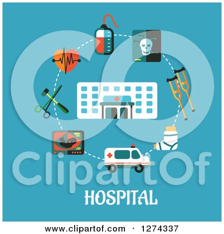 Clipart of a Hospital and Medical Items over Text on Blue - Royalty Free Vector Illustration by Vector Tradition SM