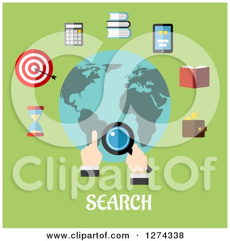 Clipart of a Hand Searching the Globe with Icons and Text on Green - Royalty Free Vector Illustration by Vector Tradition SM