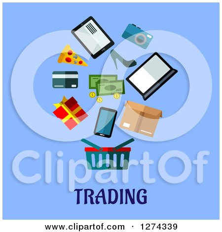 Clipart of a Shopping Basket and Items over Trading Text on Blue - Royalty Free Vector Illustration by Vector Tradition SM