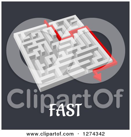 Clipart of a 3d White Maze with a Red Arrow Leading to the Way out to FAST Text - Royalty Free Vector Illustration by Vector Tradition SM