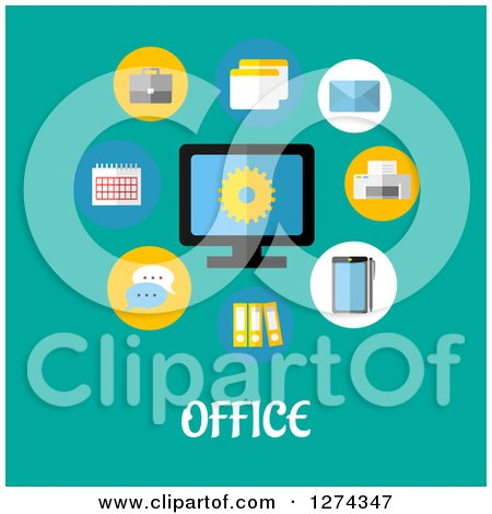 Clipart of a Computer with Icons and Office Text on Turquoise - Royalty Free Vector Illustration by Vector Tradition SM