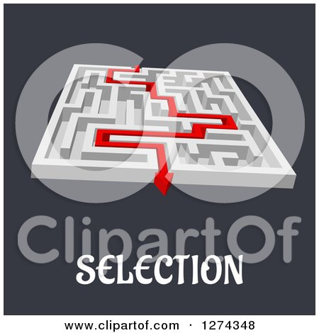 Clipart of a 3d White Maze with a Red Arrow Leading to the Way out to SELECTION Text - Royalty Free Vector Illustration by Vector Tradition SM