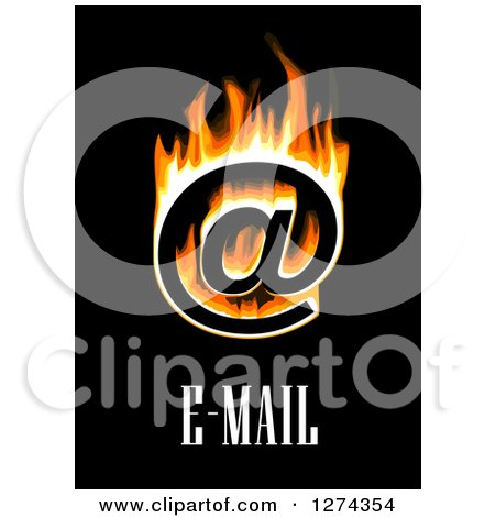 Clipart of a Flaming Email at Symbol and Black on Text - Royalty Free Vector Illustration by Vector Tradition SM