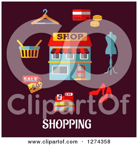 Clipart of a Shop with Icons on Maroon with Text - Royalty Free Vector Illustration by Vector Tradition SM