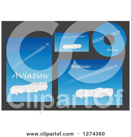 Clipart of Aviation Template Designs with Jets in Blue Skies and Sample Text 2 - Royalty Free Vector Illustration by Vector Tradition SM