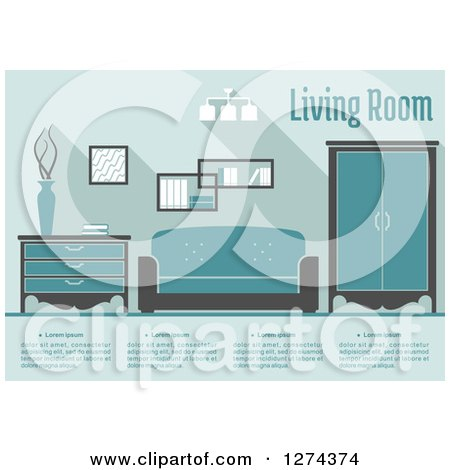 Clipart of a Blue Toned Living Room Interior with Text - Royalty Free Vector Illustration by Vector Tradition SM