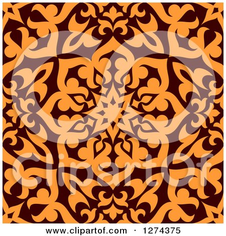 Clipart of a Seamless Brown and Orange Arabic or Islamic Design 8 - Royalty Free Vector Illustration by Vector Tradition SM