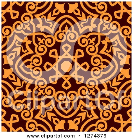 Clipart of a Seamless Brown and Orange Arabic or Islamic Design 9 - Royalty Free Vector Illustration by Vector Tradition SM