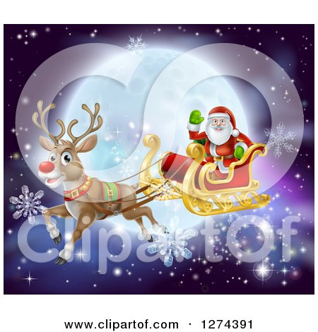 Clipart of Santa Waving While Flying in a Sleigh Led by Rudolph the Red Nosed Reindeer, with Snowflakes and a Full Moon - Royalty Free Vector Illustration by AtStockIllustration