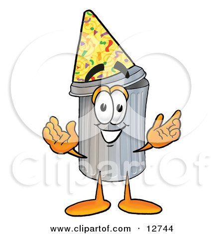 Clipart Picture of a Garbage Can Mascot Cartoon Character Wearing a Birthday Party Hat by Toons4Biz