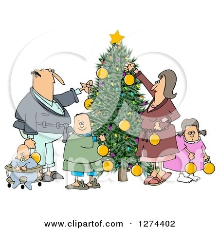 Clipart of a Caucasian Family of Five Decorating a Christmas Tree Together - Royalty Free Illustration by djart