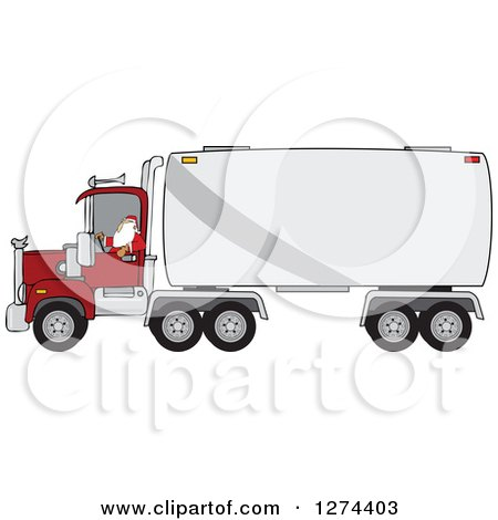 Clipart of a Christmas Santa Truck Driver - Royalty Free Vector Illustration by djart