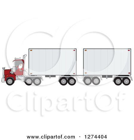 Clipart of a Christmas Santa Truck Driver in His Pajamas, Pulling a Double Trailer - Royalty Free Vector Illustration by djart