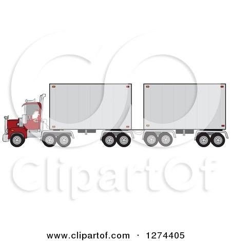Clipart of a Christmas Santa Truck Driver Pulling a Double Trailer - Royalty Free Vector Illustration by djart