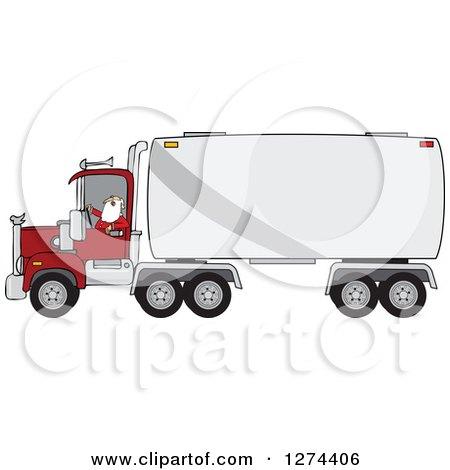 Clipart of a Christmas Santa Truck Driver in His Pajamas - Royalty Free Vector Illustration by djart
