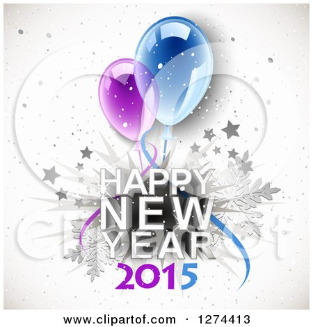 Clipart of a Happy New Year 2015 Greeting with 3d Party Balloons over Stars, Snowflakes and Grunge - Royalty Free Vector Illustration by Oligo