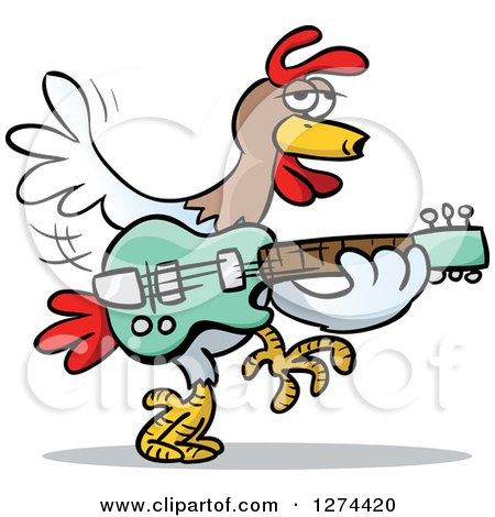Clipart of a Musician Rooster Playing a Guitar - Royalty Free Vector Illustration by Holger Bogen