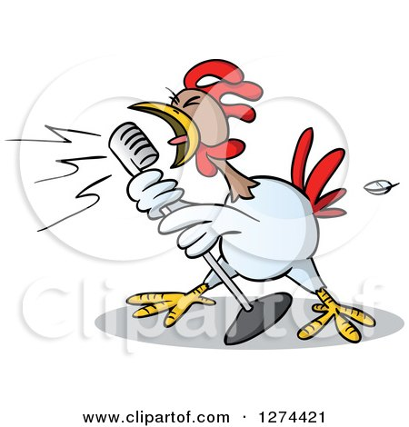 Clipart of a Musician Rooster Singing into a Microphone - Royalty Free Vector Illustration by Holger Bogen