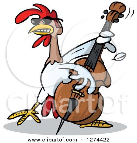 Clipart of a Musician Rooster Playing a Bass - Royalty Free Vector Illustration by Holger Bogen