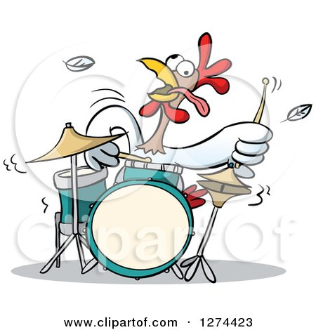 Clipart of a Musician Rooster Playing the Drums - Royalty Free Vector Illustration by Holger Bogen