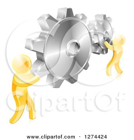 Clipart of 3d Gold Men Holding up Gold Gear Cogs - Royalty Free Vector Illustration by AtStockIllustration