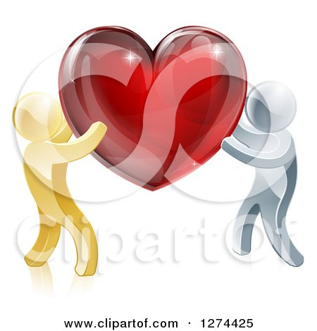 Clipart of 3d Gold and Silver People Carrying a Red Heart - Royalty Free Vector Illustration by AtStockIllustration
