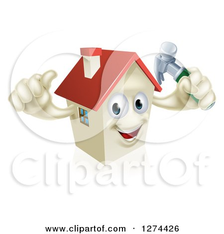 Clipart of a Happy House Character Holding a Thumb up and a Hammer - Royalty Free Vector Illustration by AtStockIllustration