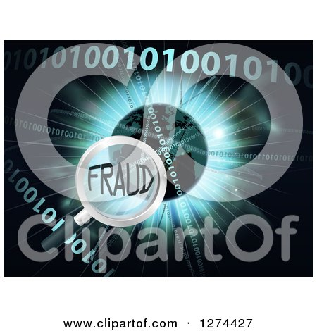 Clipart of a Magnifying Glass Focused on FRAUD over a Globe, Burst and Binary Code - Royalty Free Vector Illustration by AtStockIllustration