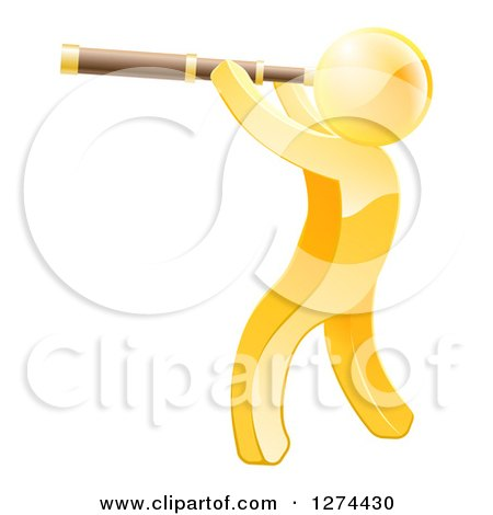 Clipart of a 3d Gold Man Viewing Through a Spyglass Telescope - Royalty Free Vector Illustration by AtStockIllustration