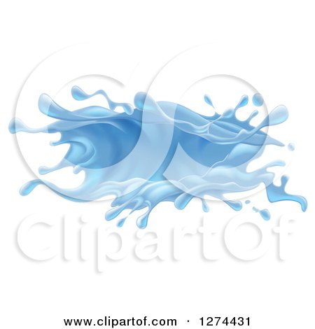Clipart of a 3d Blue Water Splash - Royalty Free Vector Illustration by AtStockIllustration