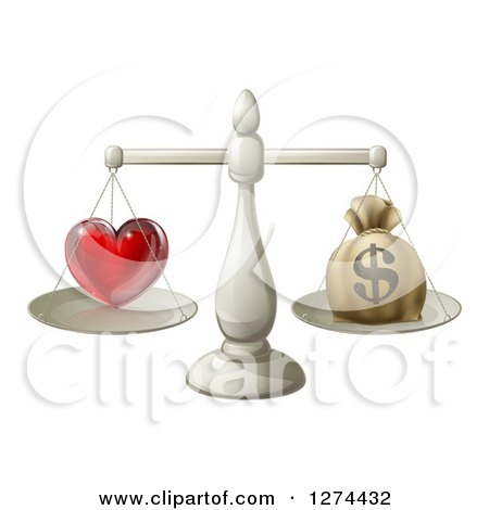 Clipart of a 3d Silver Scale Weighing Love and a Money Bag - Royalty Free Vector Illustration by AtStockIllustration