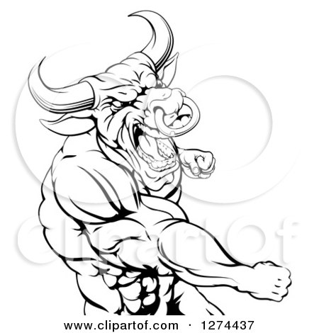 Clipart Of A Black And White Angry Muscular Bull Or