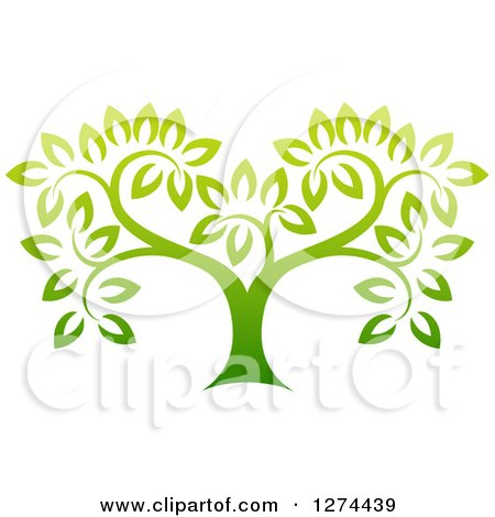 Clipart of a Gradient Green Tree - Royalty Free Vector Illustration by AtStockIllustration