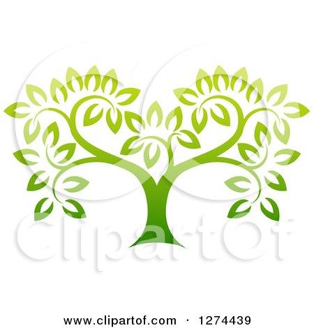 Gradient Green Tree Posters, Art Prints